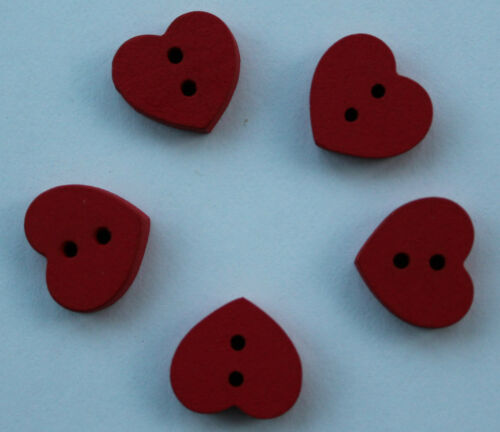 Pack of five red wooden heart shape buttons Ideal sewing or vintage projects