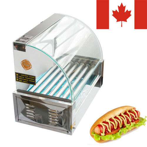 Ca Ship 7 Roller Grilling MachineBun WarmerCover18 Hot Dogs Portable