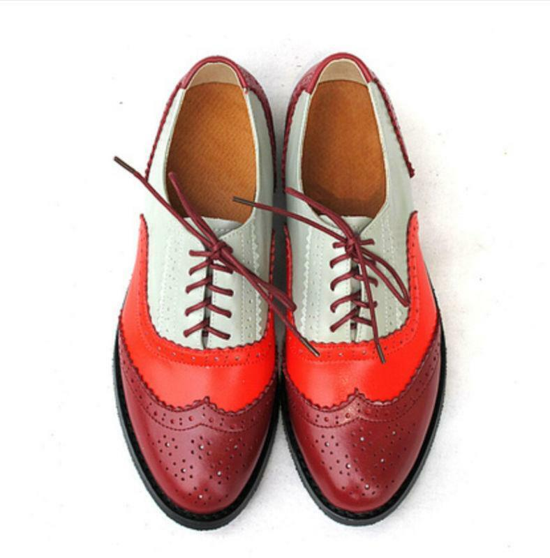 Women's Leather Stitching Shoes Colors Oxfords Wing Tip Shoes Stitching Pointed Flat Retro Shoes e4d7f7