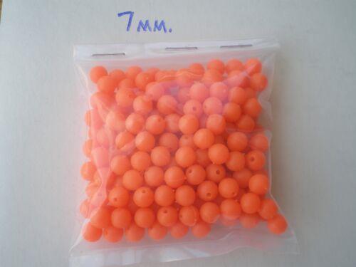7 mm orange .052 Trous 1,000 Pcs lumière douce Plastique Leurre Perles