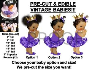 Other Baking Accessories Popular Brand Pre-cut Sitting Princess Pink Purple Ruffle Pants Edible Cake Topper Image Baby