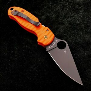 Details about Spyderco Para 3 C223GP Orange Anso Scale w/ black blade &  Bronze hardware