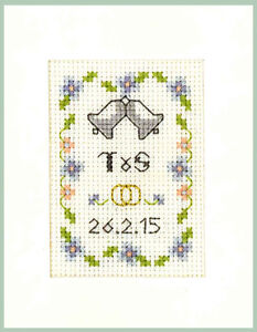 Wedding-Day-card-in-blue-amp-gold-Complete-Cross-Stitch-Kit-on-16-aida