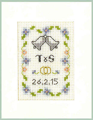 Wedding Day card in blue /& gold Complete Cross Stitch Kit on 16 aida