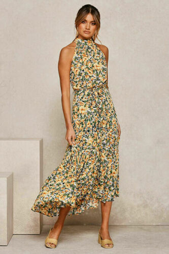 V-neck Women Casual Long Maxi Dress Ladies Summer Beach Party Holiday Sundresses