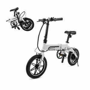 SwagCycle EB-5 Folding EBike Lightweight w/ 14in Wheels + Pedals 250W Hub Motor