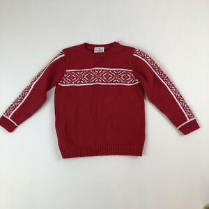 Kids-Hanna-Andersson-Red-Wht-Holiday-Nordic-Crewneck-Pullover-Sweater-Sz-110-4-5