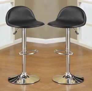 Marvelous Details About 2 Pcs Adjustable Swivel Saddle Barstools Bar Pub Stools Footrest Black Pu Chrome Caraccident5 Cool Chair Designs And Ideas Caraccident5Info
