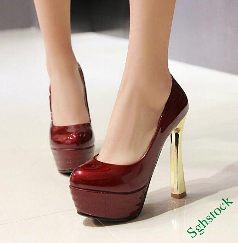 2018Women Ladies High Heels Platform Nightclub Faux Patent Leather Slip On Shoes