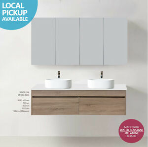 Double Vanity.Details About Asti 1500mm White Oak Timber Wood Grain Wall Hung Double Vanity W Stone Top