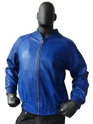 Size M Jakewood Men's Purple Genuine Lambskin Leather Baseball Bomber Jacket
