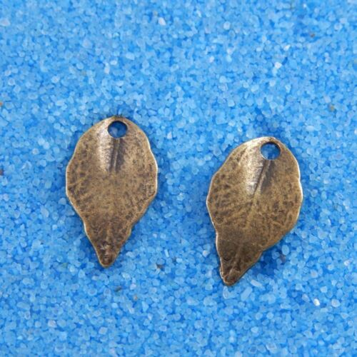 50 pcs Vintage Bronze Alloy Small Leaf Pendants Crafts Charms Findings 34183