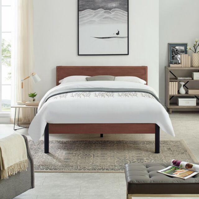 King Size Bed Frame Mattress Foundation Platform Upholstered Headboard Walnut For Sale Online Ebay