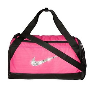ce7230145456b Details about Bling Nike Brasilia Duffel Gym Bag with Swarovski Crystal  Bedazzled Swoosh PINK