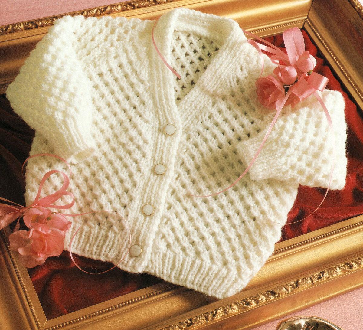 Knitting Pattern Lattice Pattern Baby Cardigan Dk 18 24