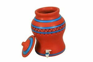 Indian traditional Clay Water Pot with Plastic Tap Brown