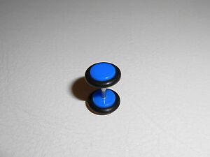 Piercing-Faux-Plug-Faux-ecarteur-UV-acrylique-bleu-fonce-anneau-noir-8mm-PFP100