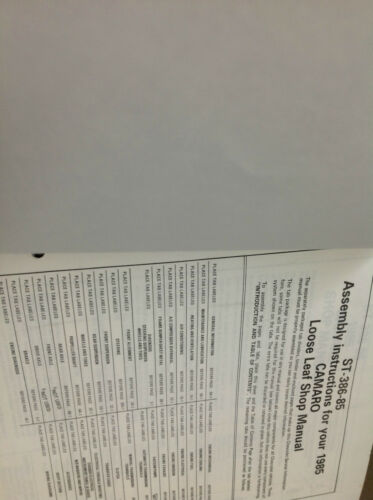 1985 CHEVROLET CHEVY CAMARO Service Shop Repair Manual BINDER EDITION x