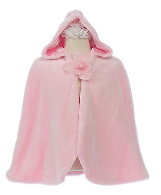 New Little Girl Faux Fur Cape Pink for Pageant Formal Party Dress sz 4 6 8 10 12
