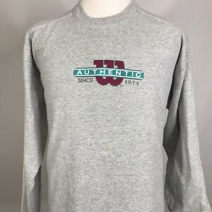 Vintage-Authentic-Wilson-ATHLETICS-Long-Sleeve-GRAY-90s-T-Shirt-MENS-2XL