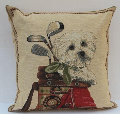 Kissen Dekokissen Westhighland Terrier im Golfbag ca 45x45 cm Westie Zierkissen