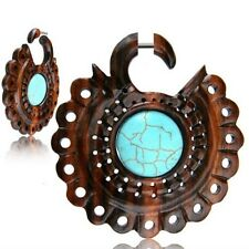 """PAIR 18G SONO WOOD FAUX FAKE CHEATER PLUGS TURQUOISE 2"""" 3/8 INCH GAUGES TALONS"""