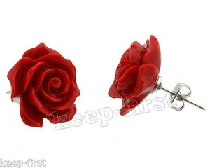 New-Fashion-Style-12mm-Red-Coral-Rose-Flower-925-Sterling-Silver-Stud-Earrings