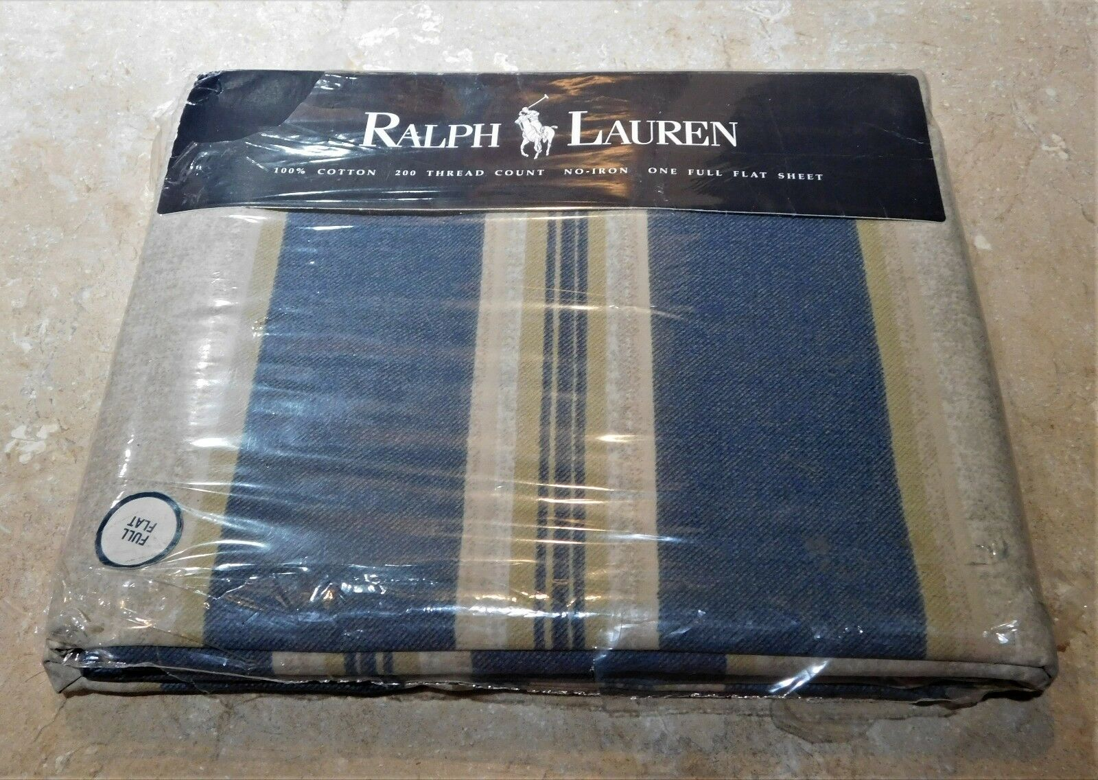 1213  Ralph Lauren Whitman Stripe Flat Sheet - Full Double