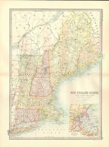 1890 Antique Map Usa New England States And Long Island Environs