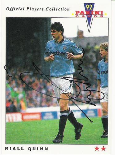 A Panini 92 card featuring & personally signed by Niall Quinn of Manchester City