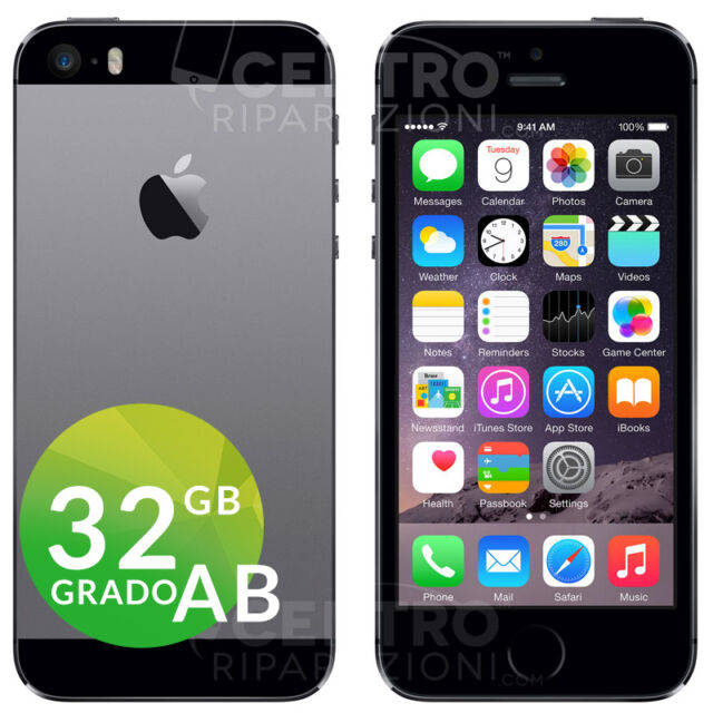 APPLE IPHONE 5S 32GB GRIGIO SIDERALE SPACE GRAY ACCESSORI E GARANZIA CORRIERE