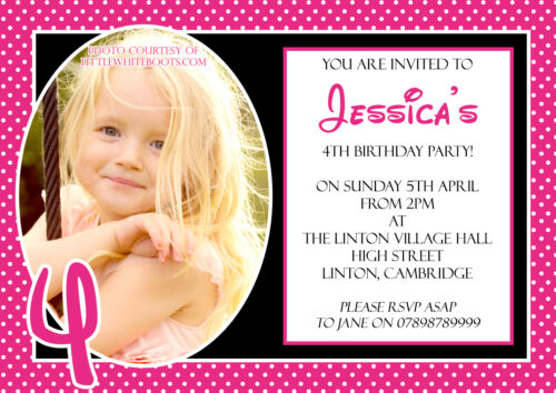 10 Personalised Birthday Party Invitations Polka Dot Joint 1st 4th 3rd 5th Child