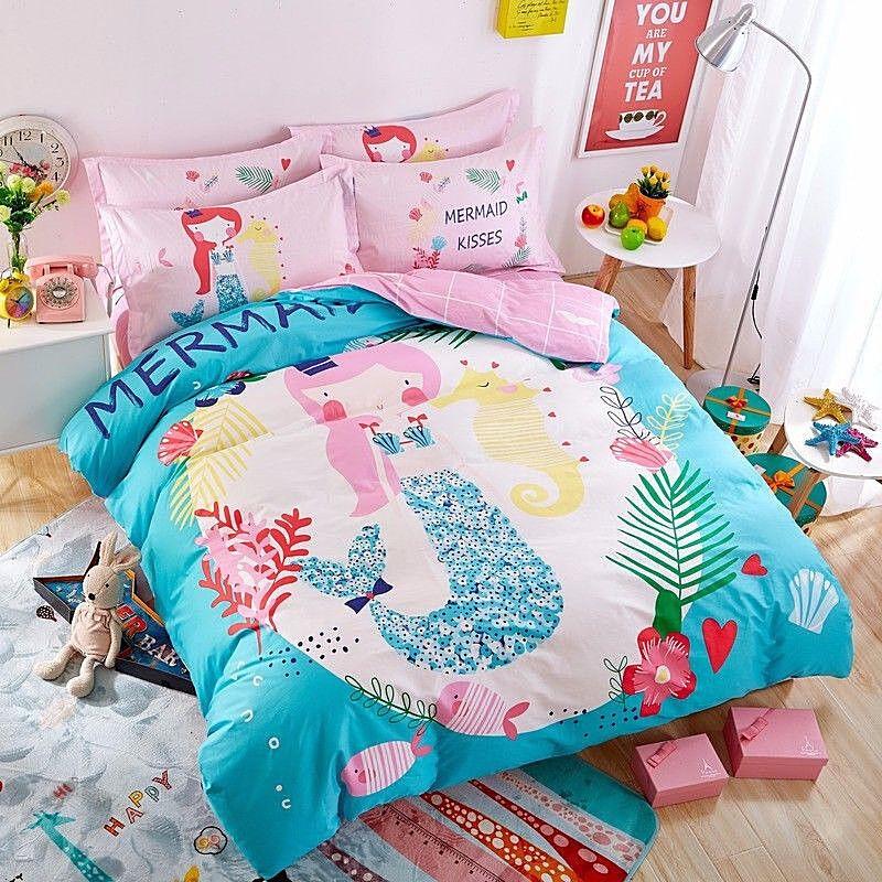 3pc 5pc. Mermaid Girls Twin Sngle Double Queen 100% Cotton Duvet Comforter Set