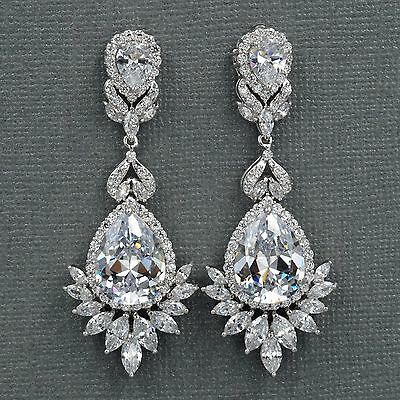 18K White Gold Plated Cubic Zirconia CZ Flower Wedding Bridal Drop earrings 7754