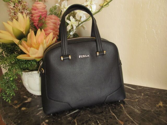119084d07a646 Furla Michelle Medium Leather Domed Satchel Bag Black NEW  448