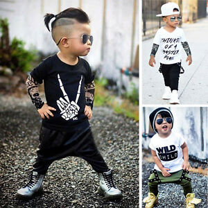 37ebeda2 2PC Newborn Baby Boy Letter Tattoo T-shirt Top + Harem Pants Outfits ...