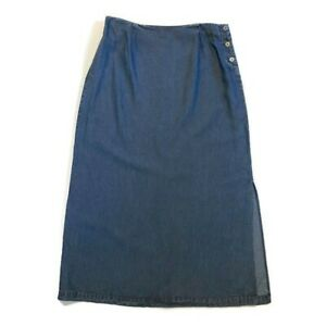 Cherokee-Maxi-Skirt-Size-Large-Blue-Denim-Side-Slit-Tencel