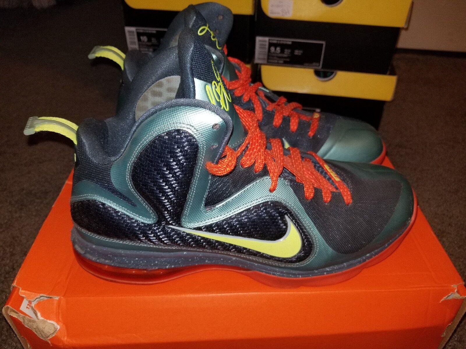 Nike Lebron 9 Cannon (Volt-Slate Blue-Team Orange) Size: 10 Lakers