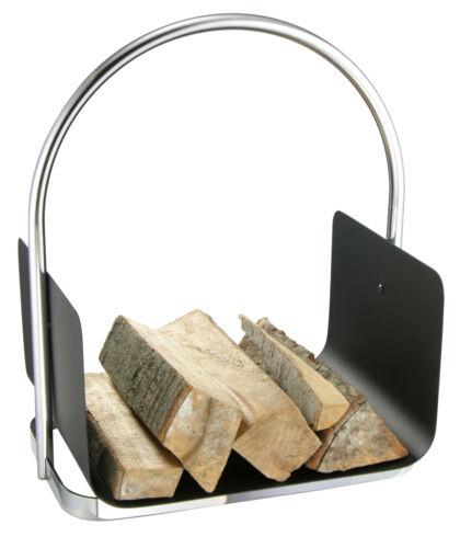 /& argent poignée armoire Mojawo ® cheminée Corbeille à Bois Bois de cheminée-papiers noir