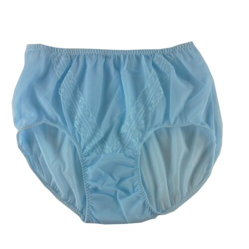 LACY VINTAGE STYLE SILKY NYLON GUSSET BRIEFS PANTIES PINUP KNICKERS FAIR BLUE