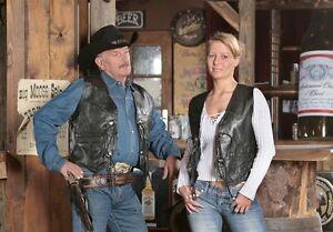 Schwarz Weste Rindsleder Lederweste Cowboy Glattleder Leder Biker Western Kutte RqBxxEIdw