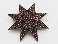 Antique Victorian Bohemian Garnet Star Brooch Gold Wash Over Silver Vermeil Box