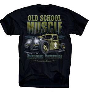 MAGLIETTA-OLD-Muscle-AMERICANO-rattitude-ROCKABILLY-CARS-V8-a-testa-piatta