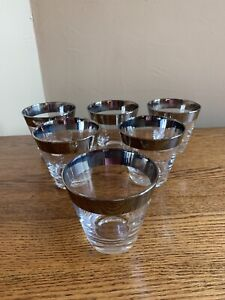 SET-OF-6-Dorothy-Thorpe-SILVER-BAND-Flared-Old-Fashioned-Glasses-Mid-Century-Mod