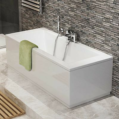 1700mm Straight Bath Modern Bathroom Double Ended Acrylic White Bathtub BB54