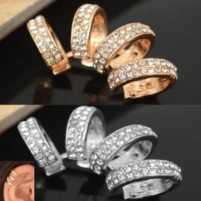 Hot Fashion Punk Crystal Ear Clip Cuff Wrap No piercing-Clip On Earring Jewelry