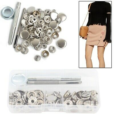 15mm Press Studs Snap Fasteners 4 Parts with Fixing Tool for Jackets Handbags UK