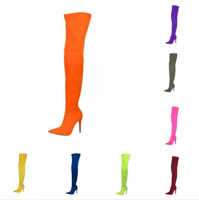Neu Damen Elastisch Fashion Stiefeletten Strecken Overknee