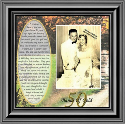 50th Wedding Golden Anniversary Gift Picture Frame *NEW* Bands of Gold 6779B