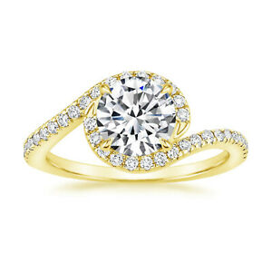1.30 Ct Round Cut Genuine Moissanite Wedding Ring 14K Solid Yellow Gold Size 4.5